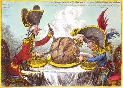 Politische Karikatur von James Gillray: Pitt und Napoleon teilen sich die Welt (1805)